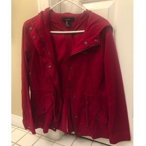 Hooded Red Utility Jacket